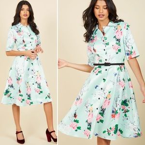 ModCloth Respectfully Retro Mint Blossom Dress